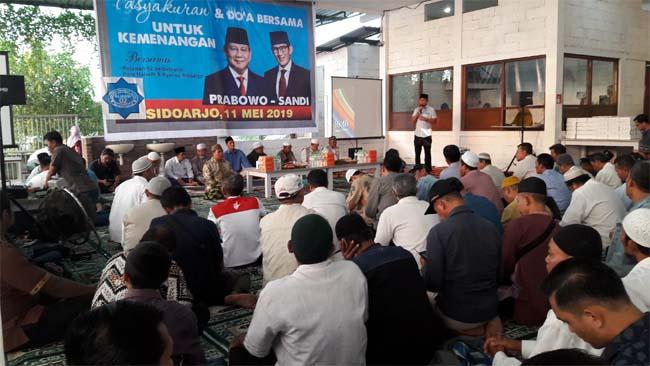 Pendukung Prabowo - Sandi Sidoarjo Gelar Tasyakuran dan Doa Bersama